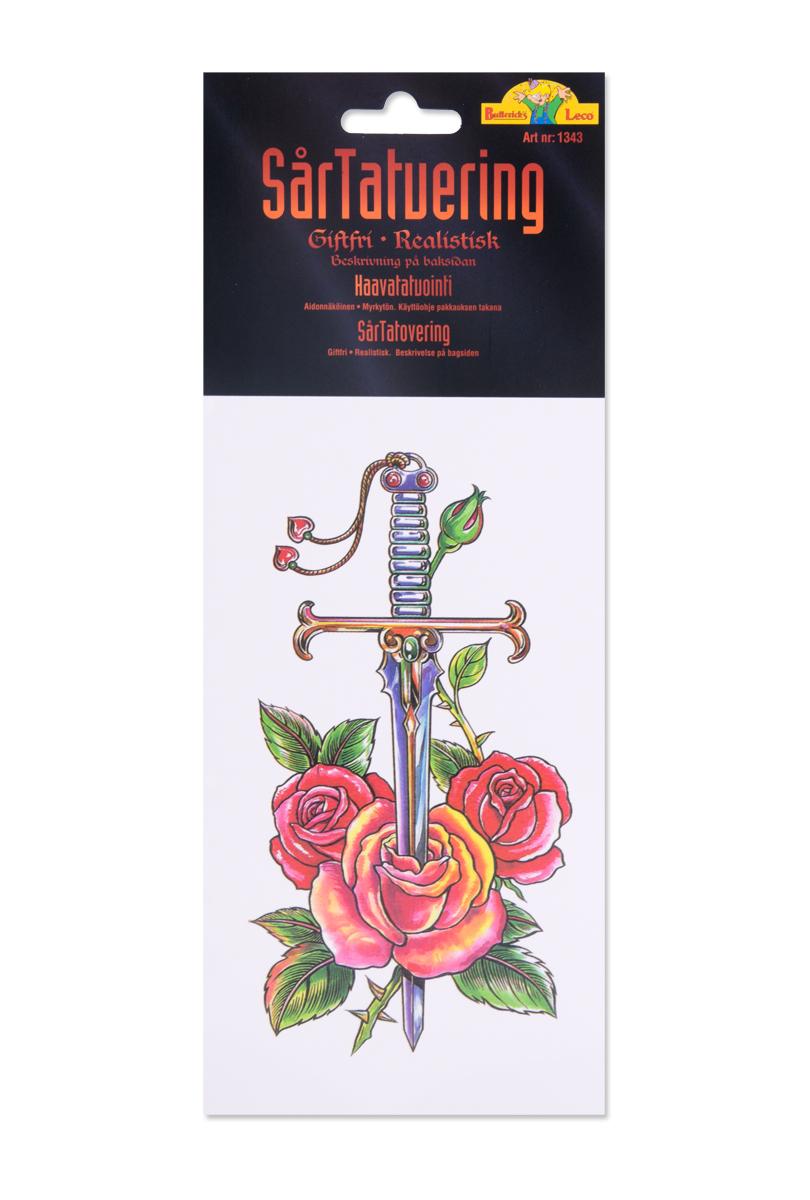 Tatuering, svärd med ros