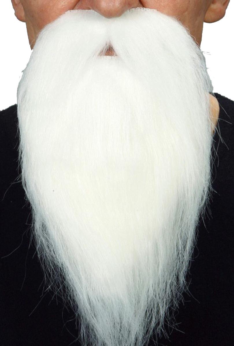Långt skägg med mustasch, vitt