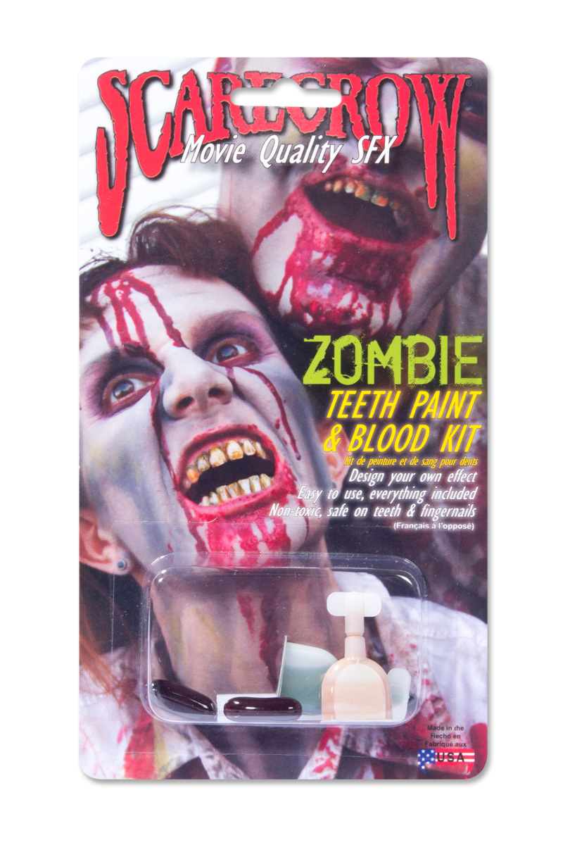 Zombie tandfärg och blod