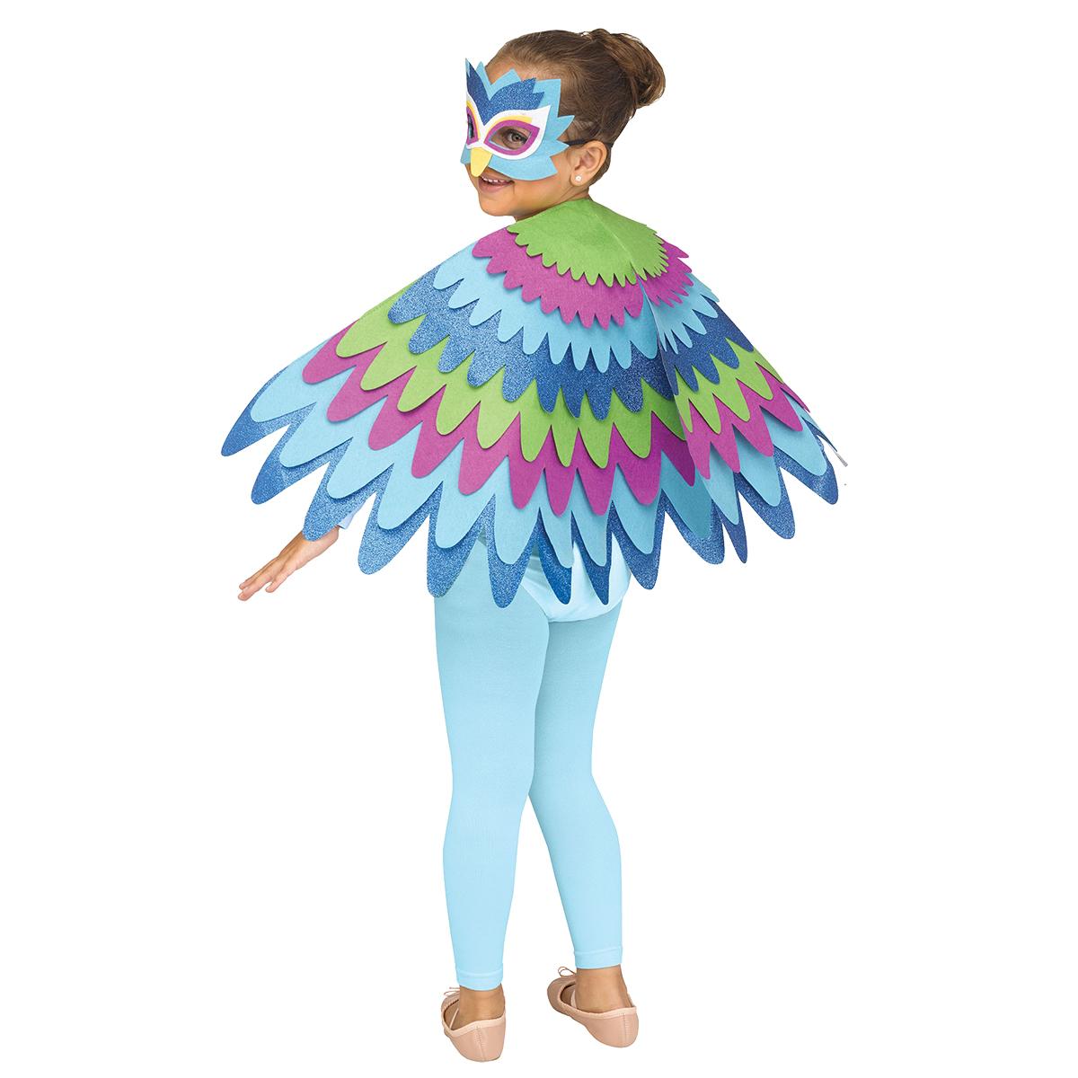 Barndräkt, påfågel cape och mask