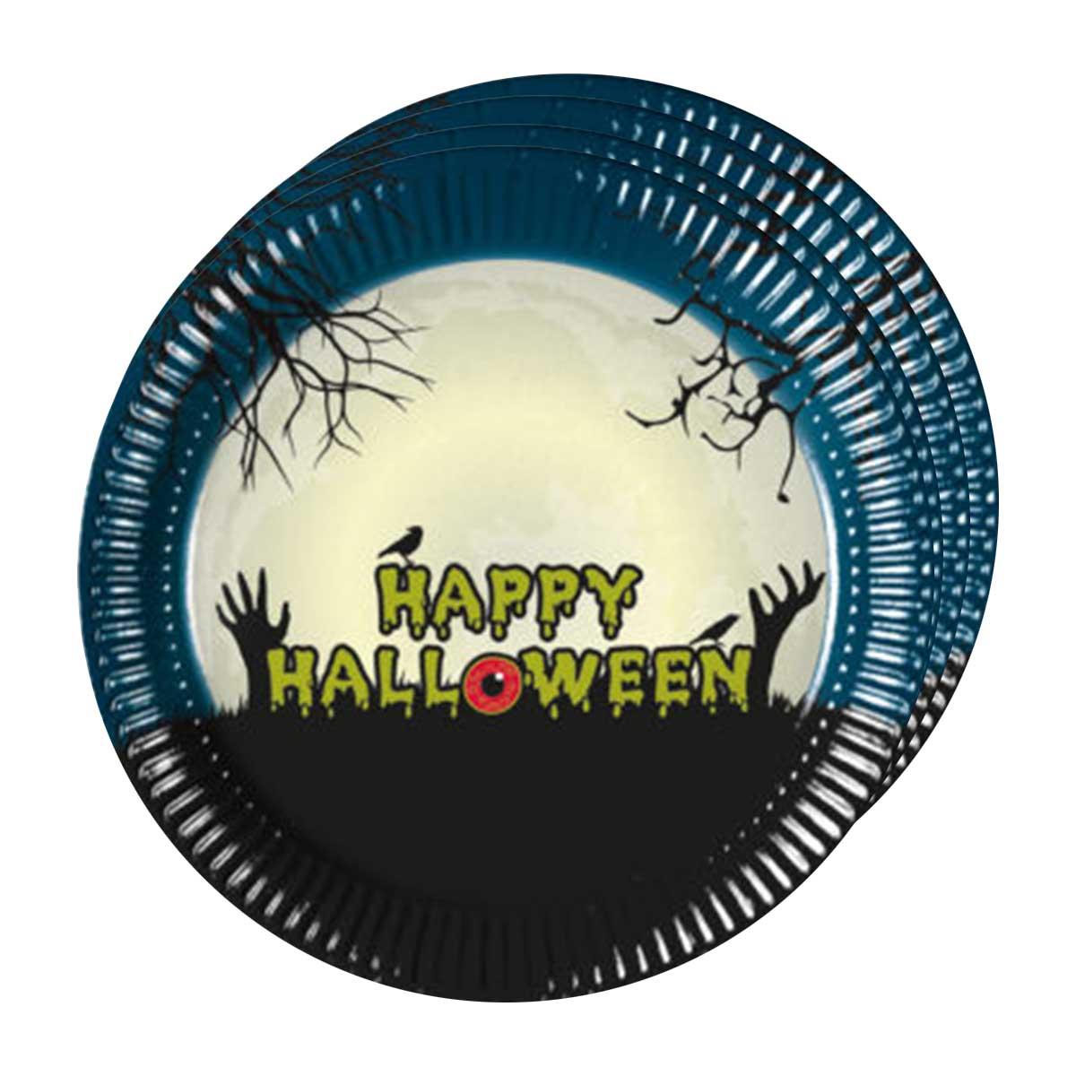 Tallrikar, halloween läskig måne 8 st