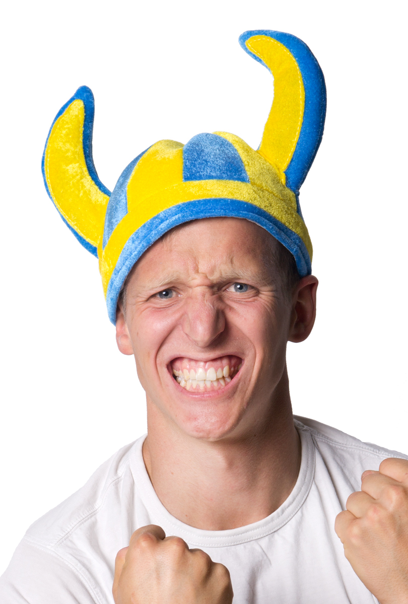 Vikingahjälm, blågul