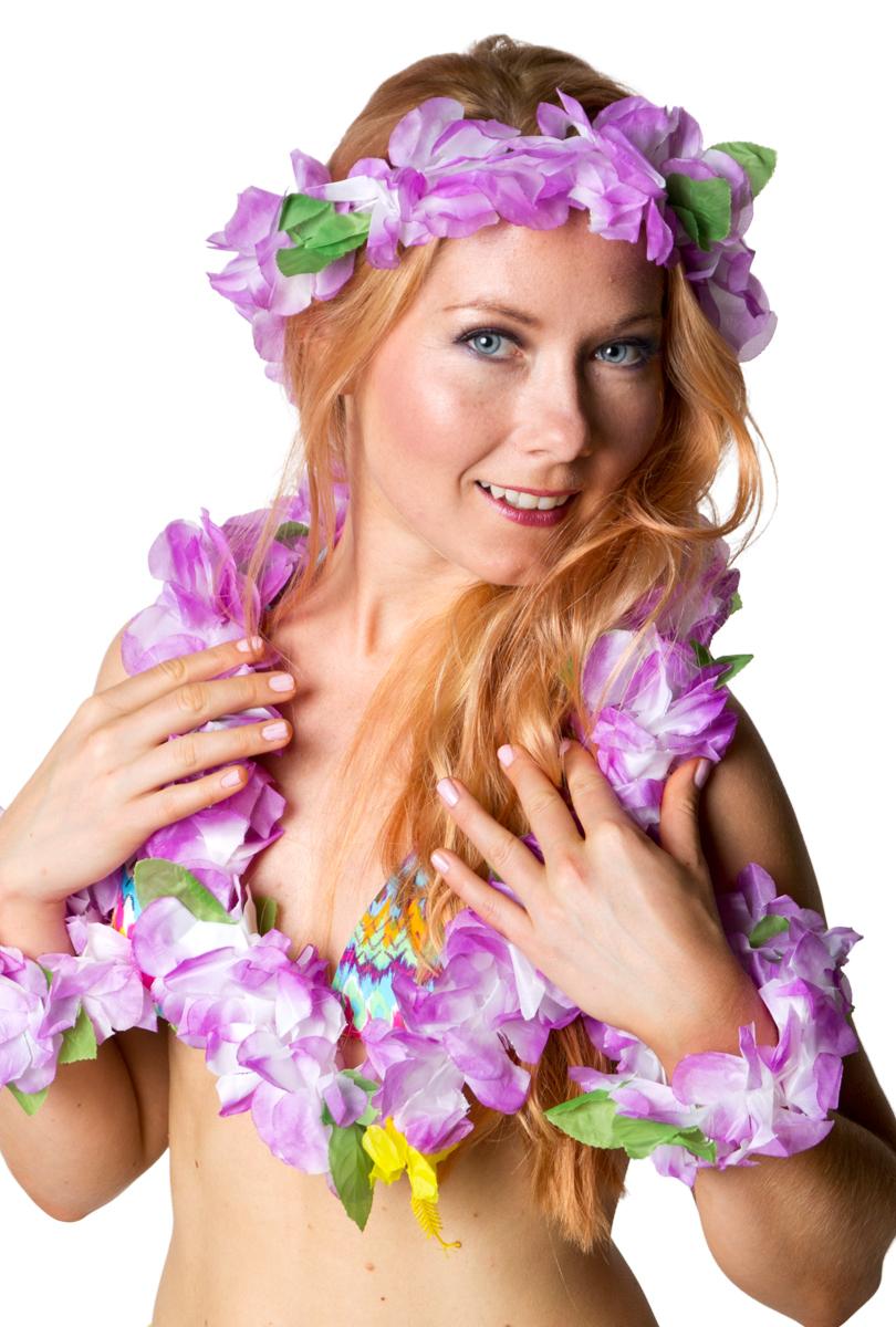 Hawaiikrans set, lila