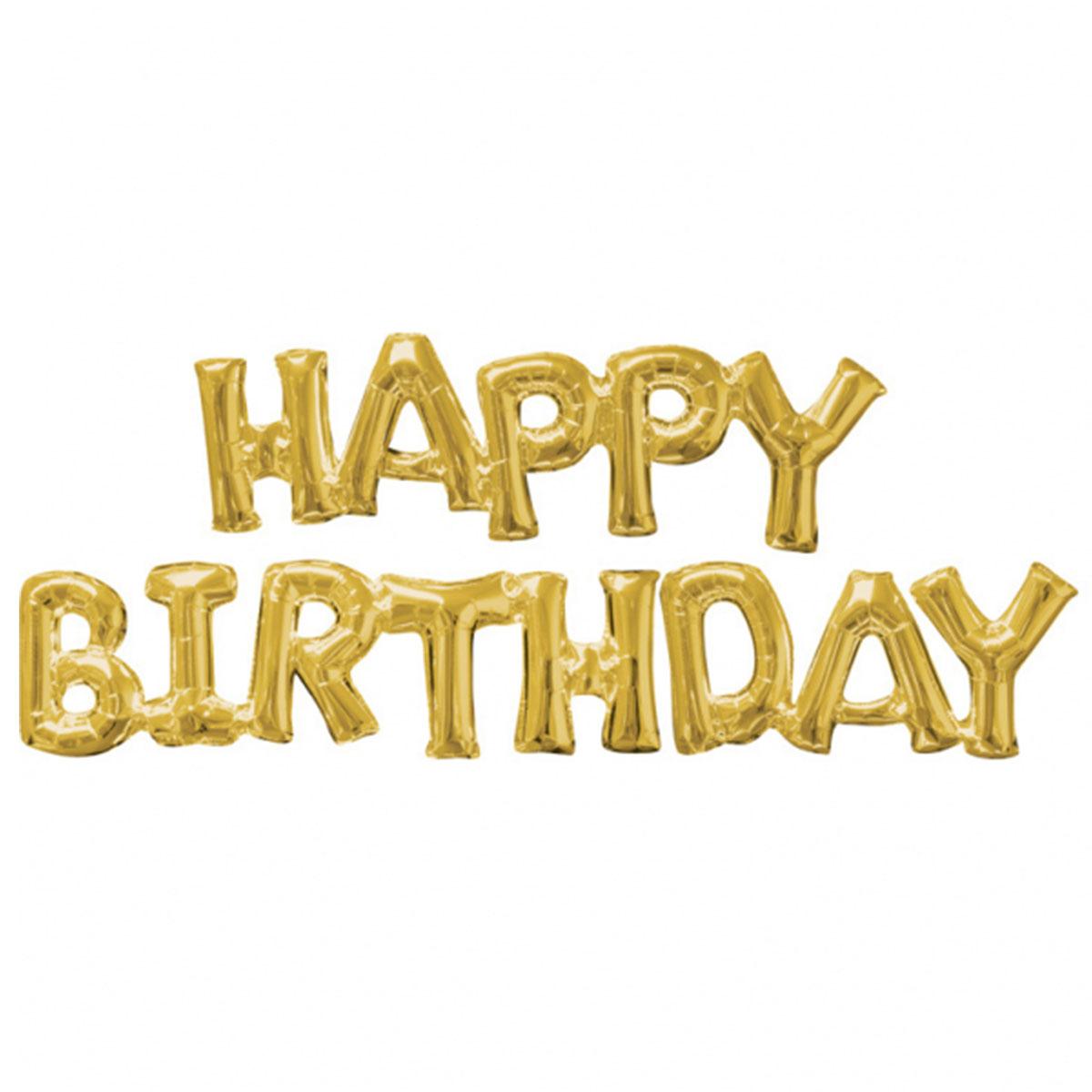 Ballonggirlang, happy birthday guld