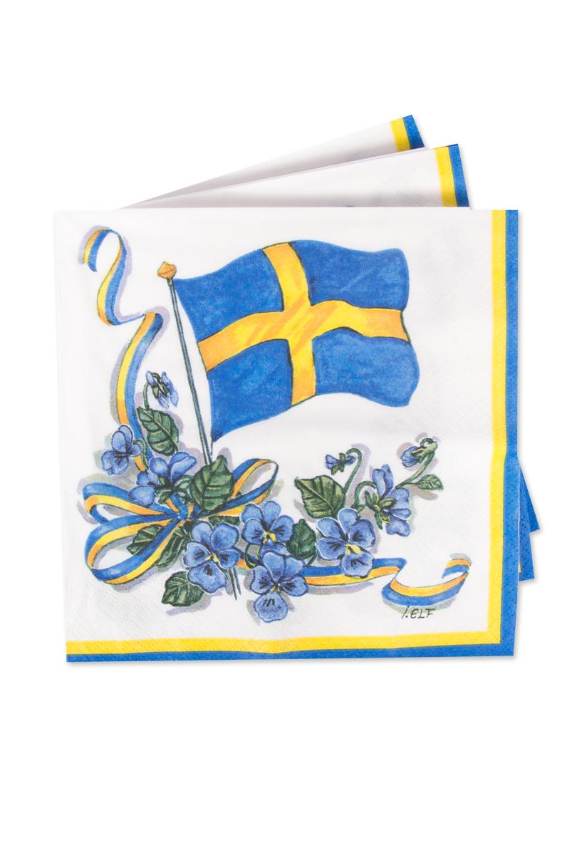 Svenska flaggan med krans, servetter