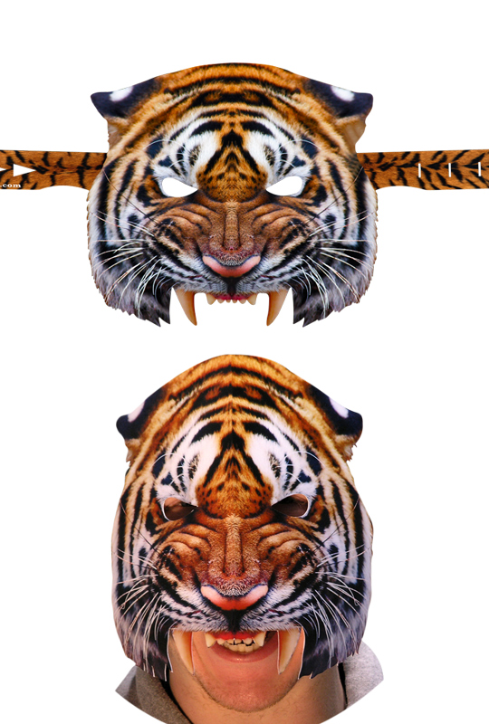 Pappmask, tiger