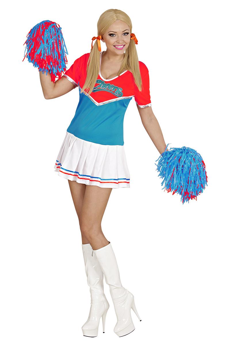 Cheerleaderklänning, Röd/Turkos