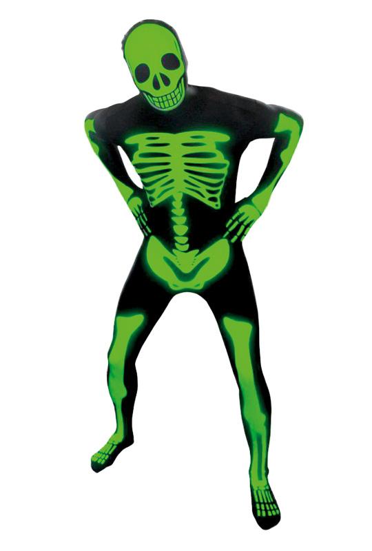 Morphsuit  självlysande skelett M