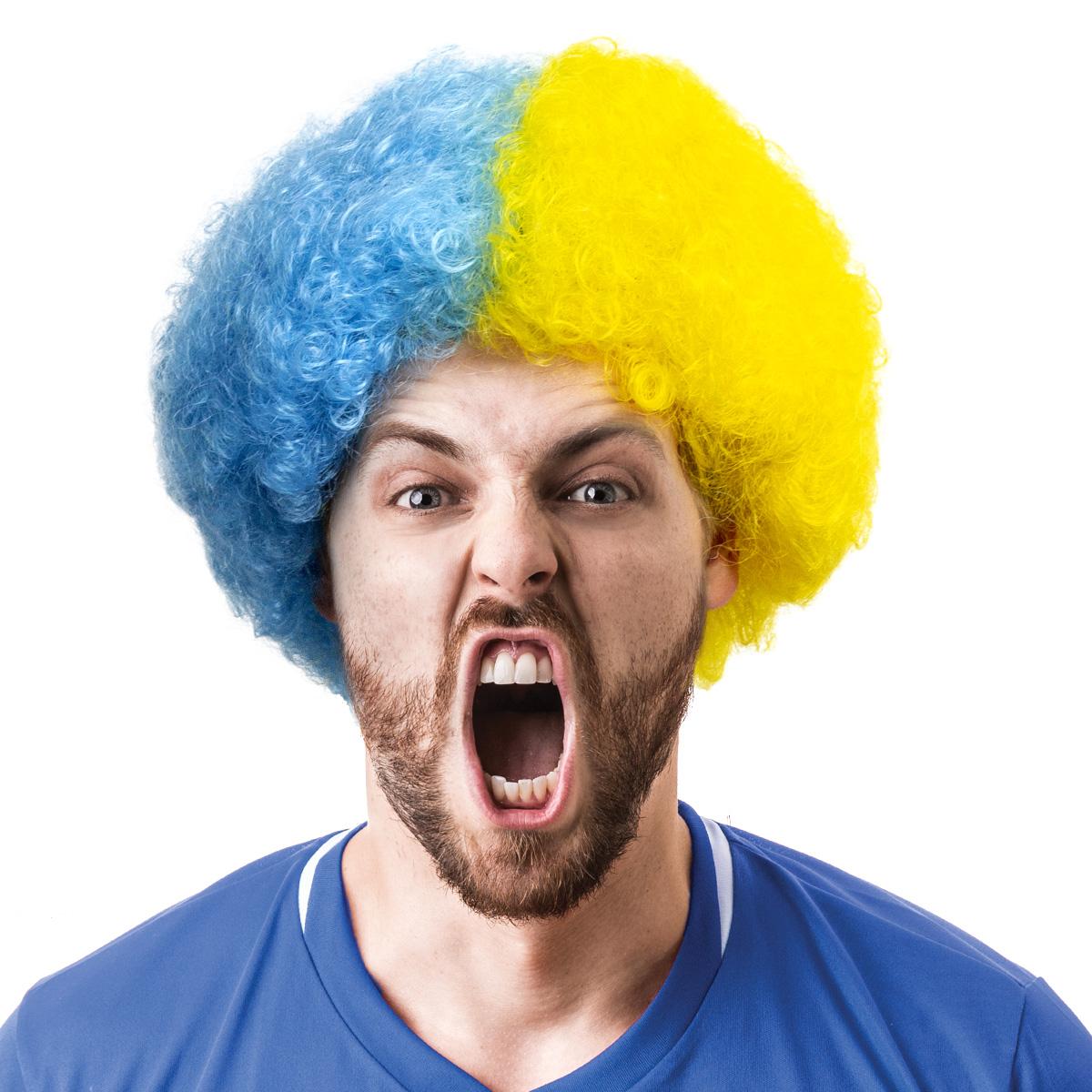 Peruk, supporter blå/gul