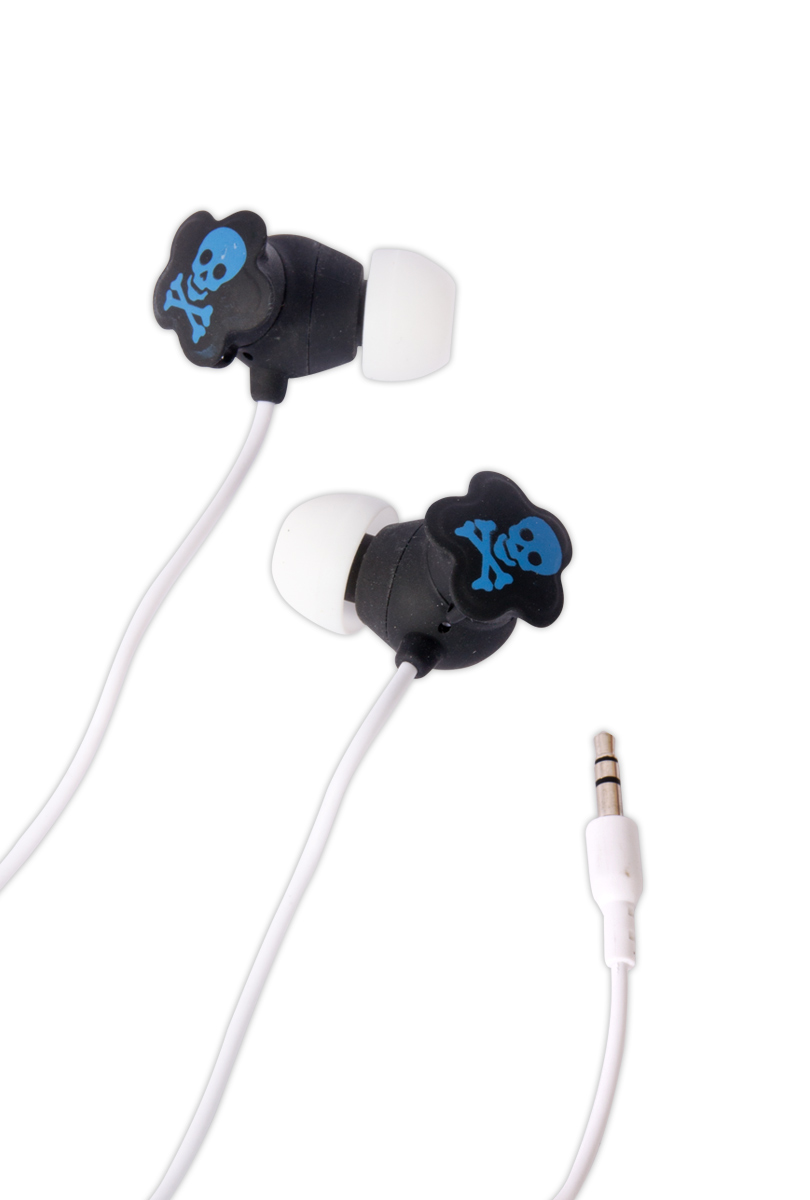 Hörlurar, blå dödskalle