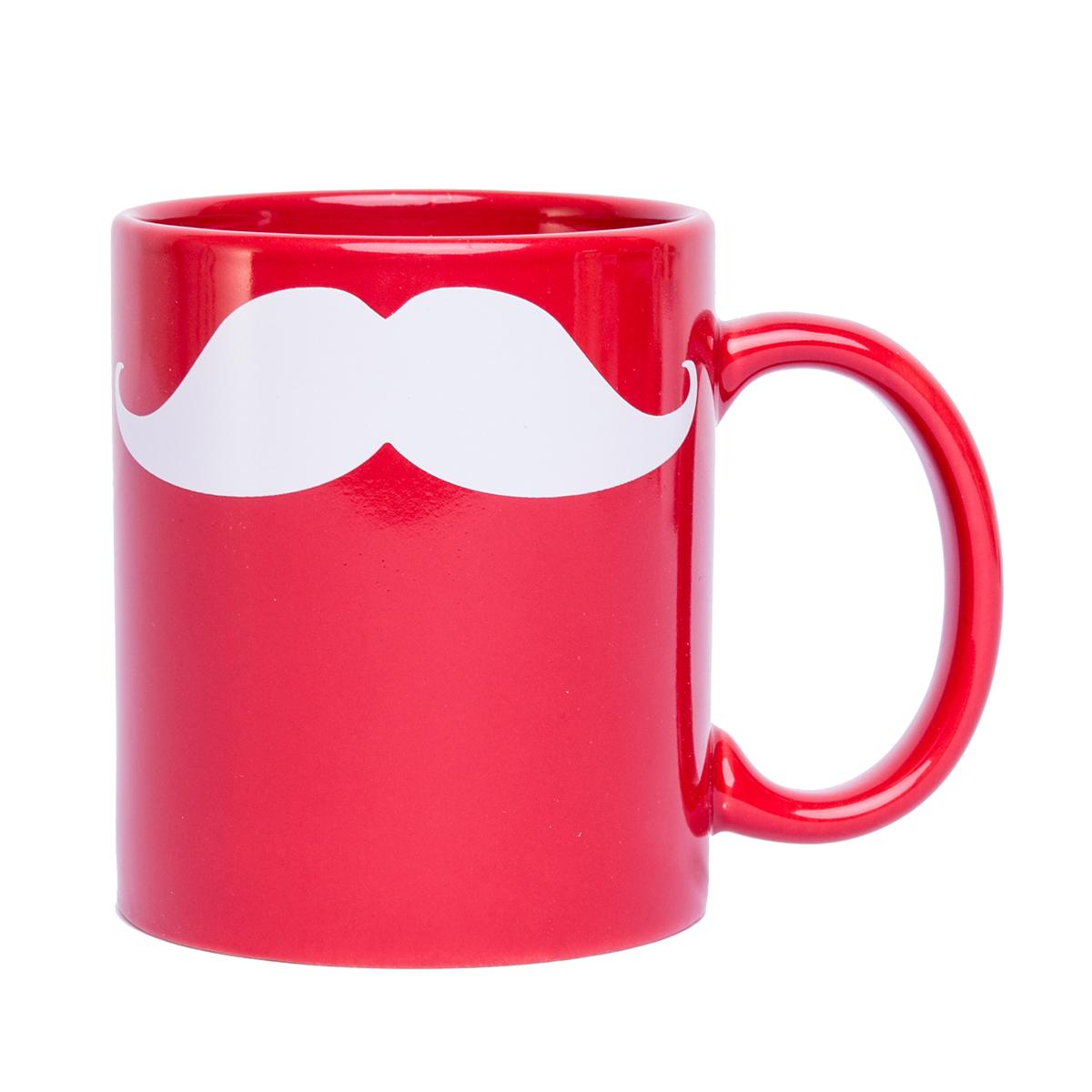Mugg, röd med vit mustasch
