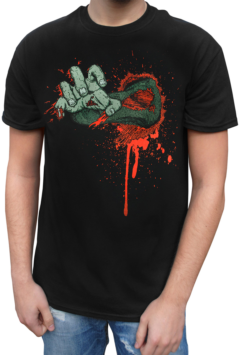 T-shirt, svart med hand
