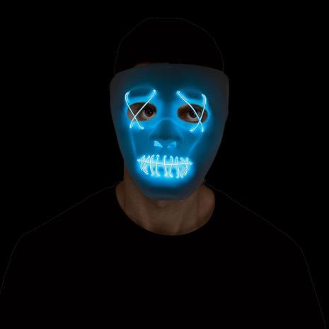 Mask, lysande trådar vit/blå