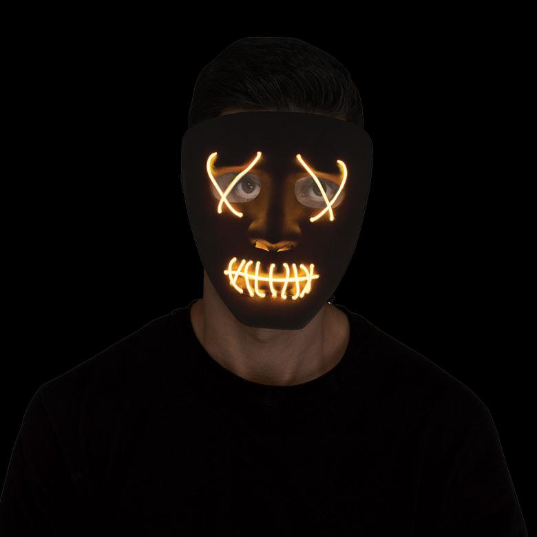Mask, lysande trådar svart/gul