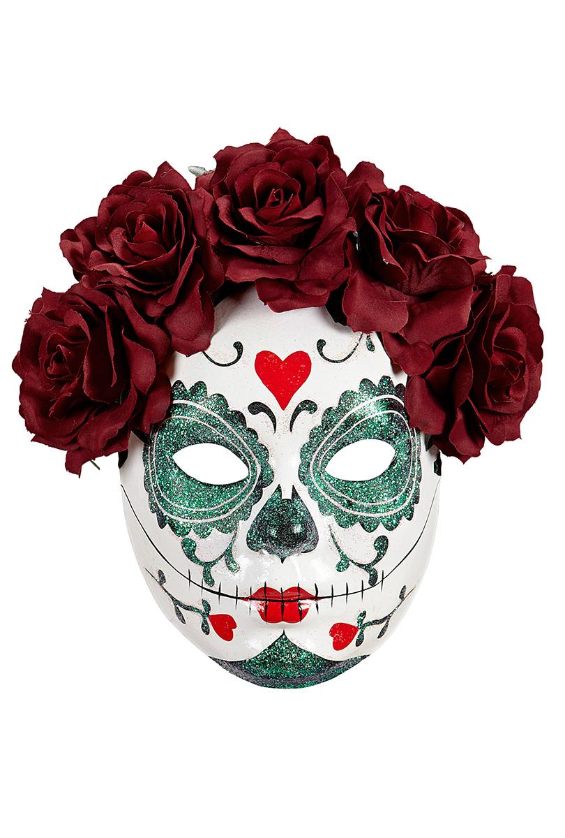 Day of the dead  ansiktsmask med vinröda blommor