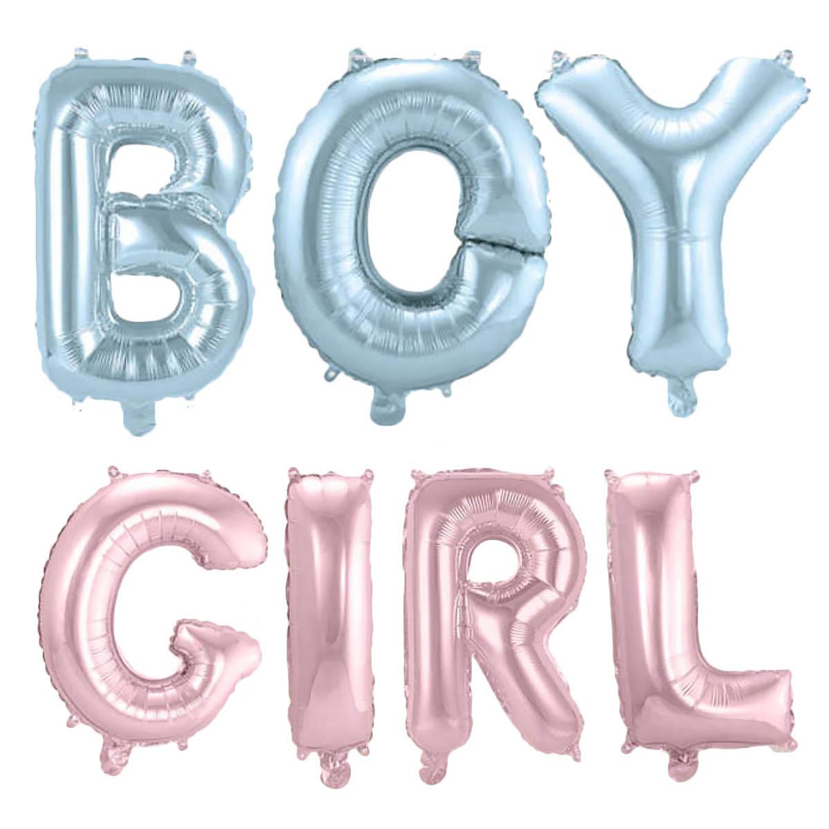 Folieballong, bokstäver, boy/girl