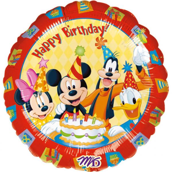 Folieballong, happy birthday Musse Pigg med vänner