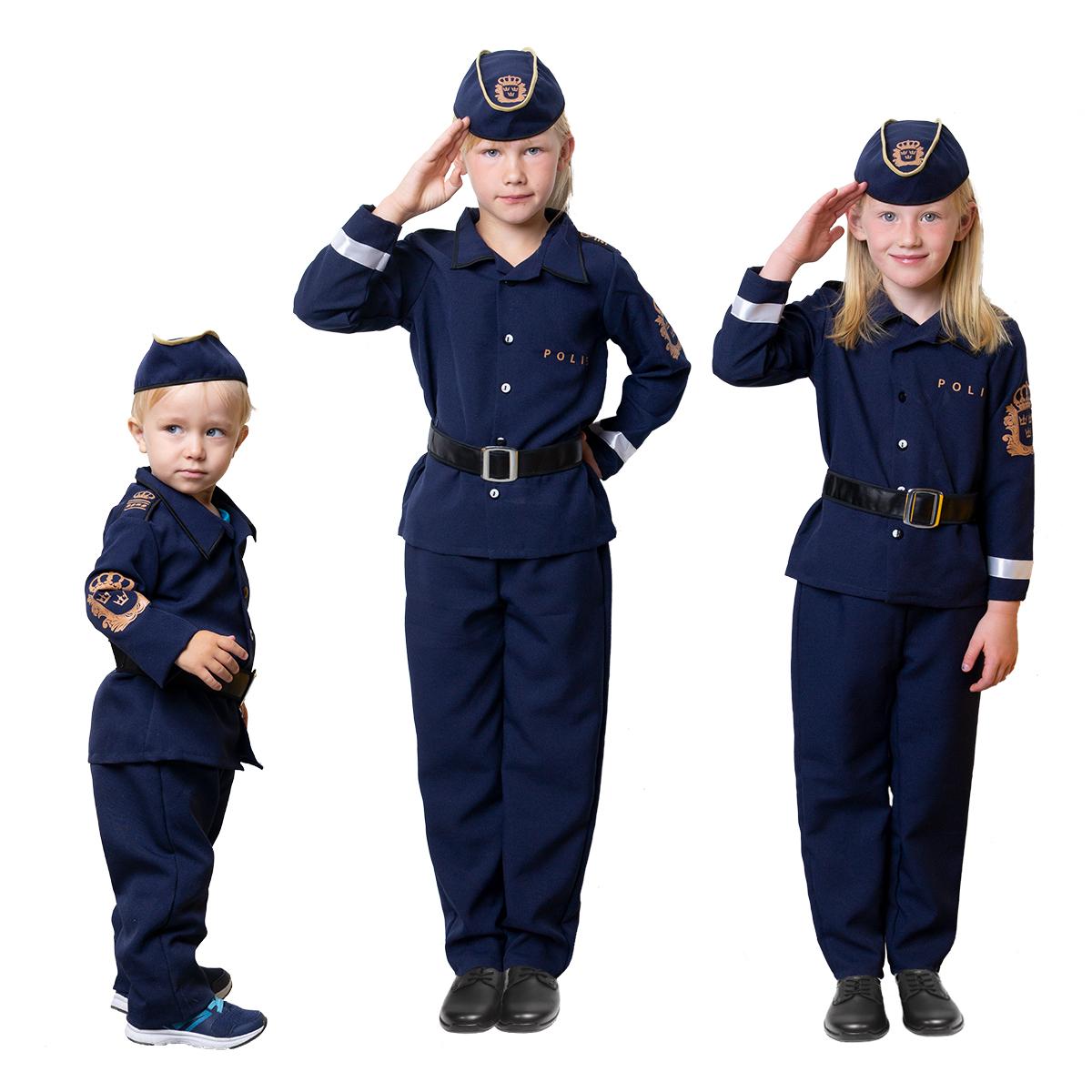 barn i uniform polisdräkt