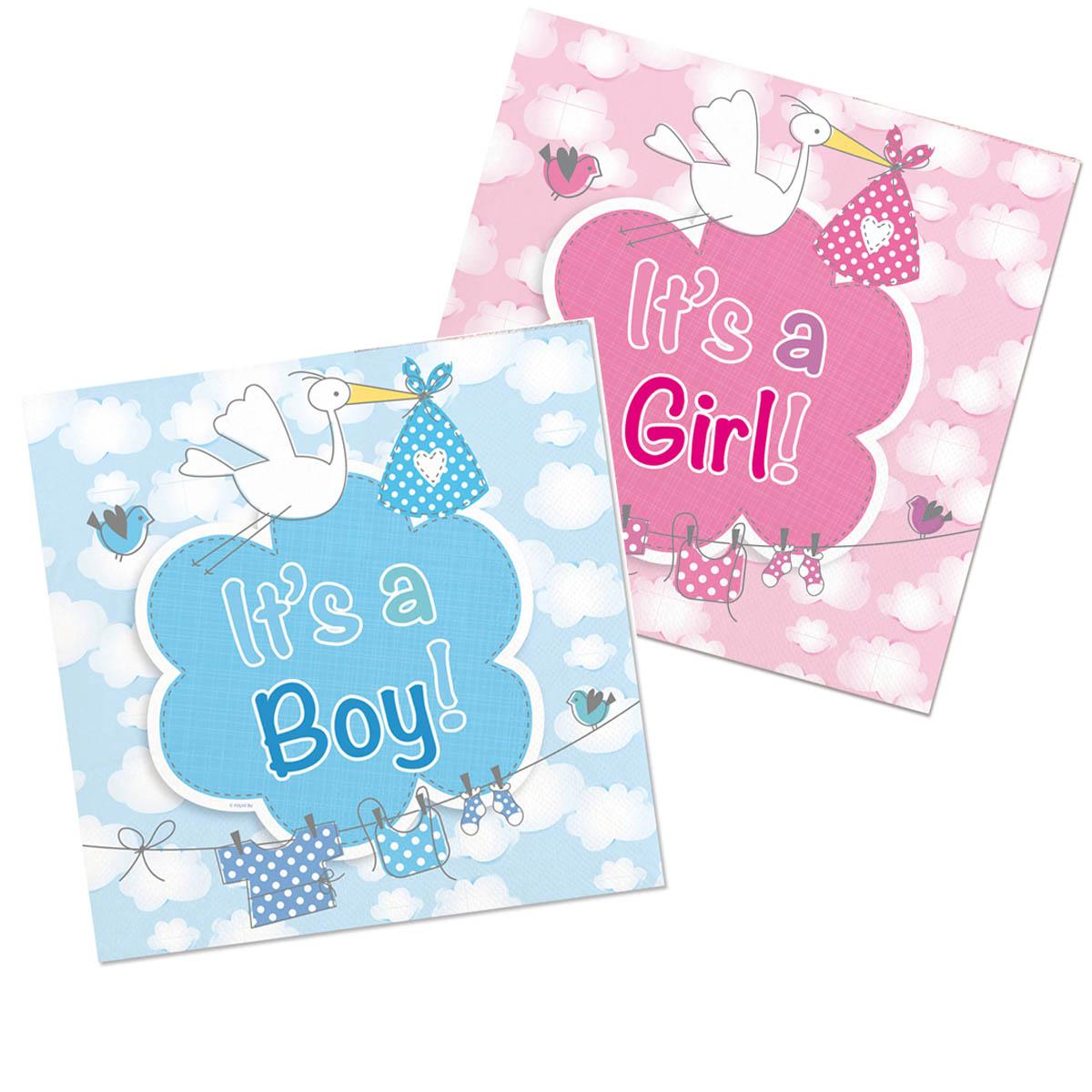 Servetter, baby shower boy/girl