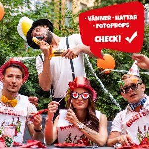 hattar, sånghäfte, ballonger